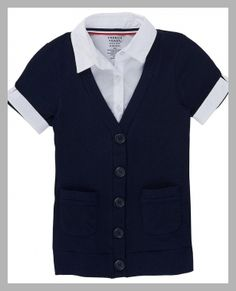 French Toast - Girls School Uniform Mock-Layer Cardigan Top - Price History