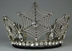 """Spider web tiara by Count Alexander, """"the Count of many Crystals,"""" a master of the Swarovki crystal.  He had a worldwide clientele, and made replicas of her jewels for the Queen of Sweden. See:  http://www.islingtontribune.com/count-alexander-von-beregshasy-–-sparkling-fairy-tale-life-count-many-crystals/."""