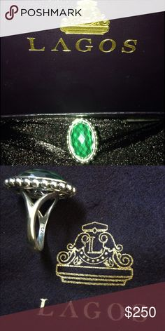 Lagos Maya Malachite Doublet Ring with Green Stone Sterling Silver Lagos Ring with Green Stone Never Worn Lagos Jewelry Rings