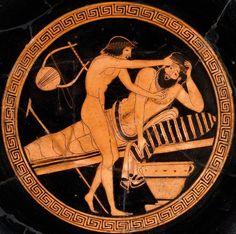 Kylix griego de ca. 500 - 470 a.C. (Museo Nacional de Dinamarca). El músico atiende a un aristócrata que sufre las consecuencias del vino...