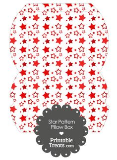 Large Red Star Pattern Pillow Box from PrintableTreats.com