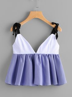 Self Tie Shoulder Striped Frill Hem Cami Top Cute Girl Outfits, Cool Outfits, Summer Outfits, Crop Top Designs, Blouse Designs, Trendy Tops, Casual Tops, Girls Fashion Clothes, Fashion Outfits