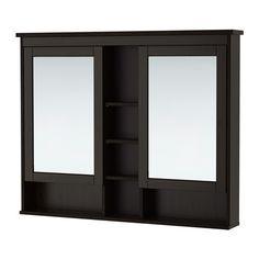 HEMNES Mirror cabinet with 2 doors - black-brown stain, 120x98 cm - IKEA