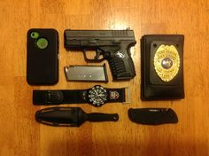 The new everyday carry. Much lighter and to the point. Springfield Armory XDs 45. With extra mag, iPhone, Luminox Navy Seal watch, badge holder with credentials, Cold Steel Recon 1 and Cold Steel Counter Tac II