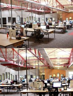 Open plan office with exposed ceiling! #openplanoffice Cubicles.com