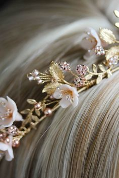 Wild Flowers_gold and blush floral wedding crown 8