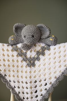 Grey and White Elephant crochet granny square Security Blanket  Available on Etsy - @crochet4cali