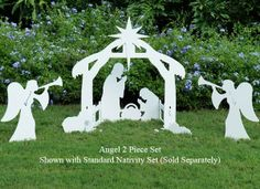 Silhouette style Outdoor Nativity Scene with Angel Figures