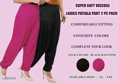 Ethnic Bottomwear - Patiala Pants Fabulous Viscose Women's Patiala Pant Combo Fabric: Viscose  Size: XL - 24 in - 32 in XXL - 26 in - 34 in Length: XL - 40 in XXL - 41 in Type: Stitched Description: It Has 2 Pieces Of Patiala Pants Colour: Black - Rani Pattern: Solid Country of Origin: India Sizes Available: XL, XXL   Catalog Rating: ★4 (458)  Catalog Name: Fabulous Viscose Women's Patiala Pant Combo Vol 17 CatalogID_401240 C74-SC1018 Code: 943-2944395-