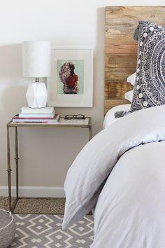 Rustic diy headboard with contemporary side table and chic grey walls. Bedside Table Styling, Home Bedroom, Bedroom Decor, Boudoir, Contemporary Side Tables, Cute Home Decor, Layout, Beautiful Bedrooms, Cozy House
