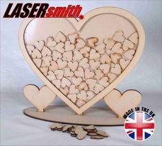 Wedding Drop Frame Wooden MDF Guest Book Alternative Holds UP TO 70 Hearts   eBay
