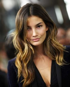 Dark Brown Hair with Golden Ombre Highlights