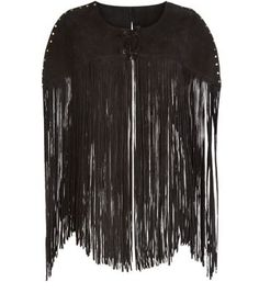 """Add some fringing to any outfit with this suede tassel cape for a chic look this season. - Real suede- Stud detail- Fringe Detail Lace up front- Casual fit- Model is 5'8""""/176cm and wears UK 10/EU 38/US 6"""