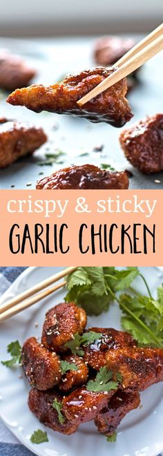 Crispy Garlic Chicken: Crispy chicken is tossed with a sticky & garlicky sauce to make a better-than-take-out dinner! This recipe is a great appetizer, too.