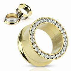 14K gold plated threaded tunnel with jeweled rim