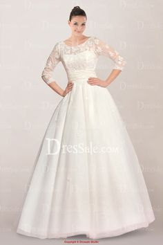 Elegant Illusion Neckline Princess Wedding Dress Featuring Pretty Appliques and V-back