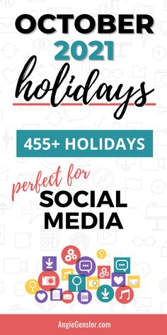 Keep your social media feed fresh with this massive list of holidays for October 2021. Discover fun, weird, and special days to celebrate on social media and create engaging content. #AngieGensler #SocialMedia #Holidays Online Marketing, Social Media Marketing, Digital Marketing, Business Marketing, Business Tips, Marketing Ideas, Affiliate Marketing, Facebook Marketing, Marketing Strategies