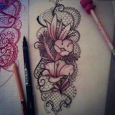 Sophie Adamson Tattoo Art — A start to tomorrows piece for Jenny, we'll be. Kunst Tattoos, Body Art Tattoos, Tattoo Drawings, Lace Tattoo, Tattoo Ink, Schulter Tattoo, Heart With Wings, Tattoo Stencils, Shoulder Tattoos