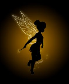 Black for the silhouette,  white ink for the glow, UV for the wings and pixie dust....  THIS IS IT!!!