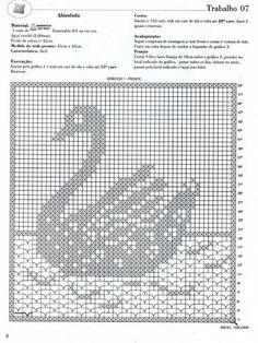 Schema uncinetto Cigno Crochet Patterns Filet, Crochet Dolls Free Patterns, Crochet Diagram, Crochet Motif, Crochet Designs, Crochet Doilies, Crochet Birds, Easter Crochet, Thread Crochet