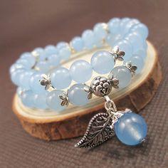 Blue Jade Beads Bracelet with Lucky Tibetan Silver Leaf Pendant