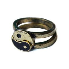 Gold Yin Yang Friendship ring Vintage overstock splits in two. Brushed... ($14) ❤ liked on Polyvore featuring jewelry, rings, accessories, vintage rings, yellow gold jewelry, gold ring, vintage jewelry and gold jewellery