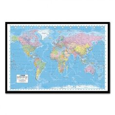 Political World Map Pin Board Includes Pins - Choice Of Frames