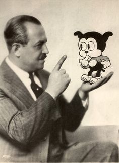 Max Fleischer and Bimbo publicity photo. Introduced in the 1920's, Bimbo was one of the early Fleischer stars. Betty Boop made her first film appearance as Bimbo's love interest in a 1930's Bimbo film.   Collection: Fleischer Studios