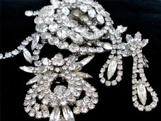Vintage Juliana Clear Rhinestone Set Runway Necklace Brooch Earrings D & E Prong | eBay