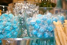 Blue and silver candy buffet