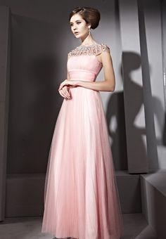 Pink Round Neck Sexy Prom Formal Ball Cocktail Party Long Evening Dress  $367.27