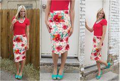 High Waist Floral Print Midi Skirt $21.99 available @The Nest On Main!!