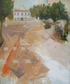 Urbana Rustica XXIX - Ermita de Godella Collage + Acrílico  100 X 81 cm. Seleccionado en el XXXV Concurso Nacional de Pintura El Piló.
