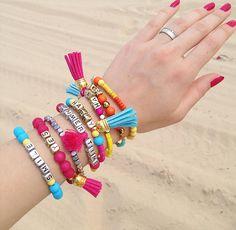 rainbow tassel bracelet set, beaded bracelet set, multi strand, beach jewelry, personalized name bracelet, layering bracelet by ObodkiJM