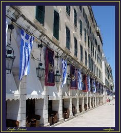 """These streets known as """"Kantounia"""" with restaurants n bistros abound in Corfu, Kerkyra, Ionian Islands_ Greece"""