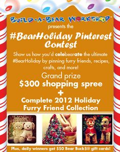 Click the pin to find out how to enter! Or click here: http://contests.pinfluencer.com/bearholiday