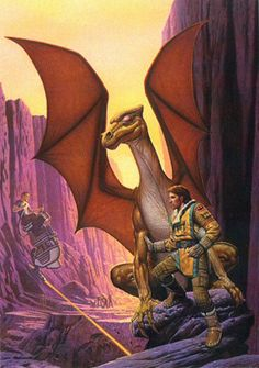 This artwork was done by Keith Parkinson for the US edition of The Chronicles of Pern : First Fall, published by Random House (Ballantine/Del Rey) and it was used for both hard- and softcover books. It has a unique interpretation of a colonist sled and is one of the Pern book covers that have more of a science fiction feeling about them because of the technical details. The dragonrider and dragon could be meant to be Sean Connell and bronze Carenath.