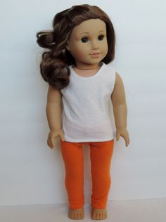 American Girl Doll Leggings... Orange and Blue Striped w/ pattern link