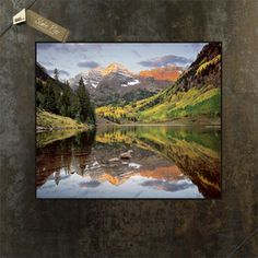 Maroon Bells Photo on slate background http://www.giftsfromcolorado.com/page/G/PROD/ILK0112x12