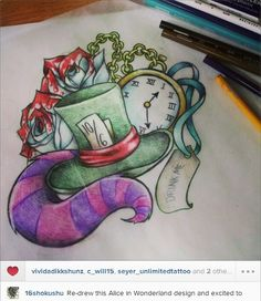 awesome alice in wonderland tattoo idea from 16shokushu (instagram)