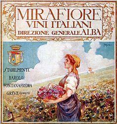 Vintage Italian Posters ~ #illustrator #Italian #posters ~ By Romano Di Massa, 1921, Mirafiore Vini Italiani,