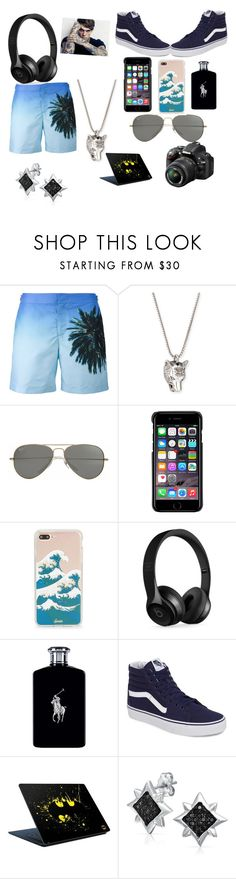 """Beach Day"" by arianna-mitchell-1 on Polyvore featuring Orlebar Brown, Gucci, Parasol, County Of Milan, Sonix, Beats by Dr. Dre, Ralph Lauren, Vans, Nikon and men's fashion"