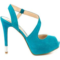 Say hi to the Hilarie you're new go to look! This come hither sandal by Guess features a bright blue suede with winding strap and peep toe. You'll love the 5 i…