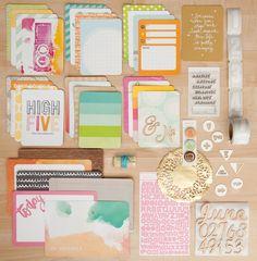 "LOVE this #ProjectLife kit for June! Watercolor die cuts, badges, ""ticket"" washi tape, & large wood veneer set"