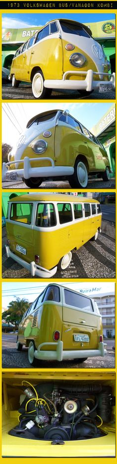 Yellow Kombi Volkswagen VW Bus on this pictures was produced in Brazil in 1973,  gasoline engine in excellent condition. No rust, drives nicely and smooth.| re-pinned by http://www.wfpblogs.com/category/southfloridah2o