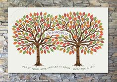 Wedding Guestbook Alternative - Signature or Thumbprint Tree - Fall Foliage Leaves on Etsy, $255.00