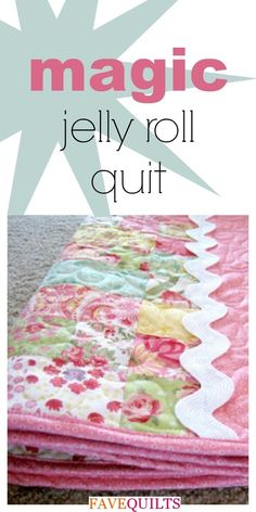 """jellyroll quilts Make quick baby girl quilts for upcoming baby showers with this Magic Jelly Roll Quilt. This baby quilt pattern will make bright and cheery baby quilts with """"magic"""" c Quilt Baby, Baby Girl Quilts, Girls Quilts, Rag Quilt, Owl Quilts, Sampler Quilts, Quilt Top, Strip Quilts, Easy Quilts"""