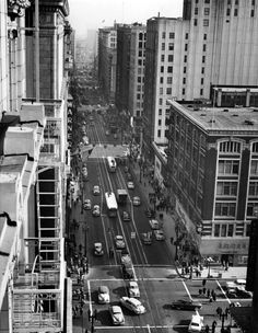 A view of 7th Street looking east from on top of the Los Angeles Athletic Club, circa early 1950s. (Bizarre Los Angeles)