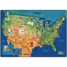 "Kids Rugs: USA Learn & Play - 5'5"" x 7'8"" Rectangle"