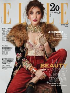 Anushka Sharma is the cover star of latest issue of Elle India. Sharma looks fierce in a silk top by Stella McCartney that is paired with red Temp. Anushka Sharma, Bollywood Celebrities, Bollywood Actress, Indian Celebrities, Celebrities Fashion, Vanity Fair, Marie Claire, Nylons, Fashion Magazine Cover